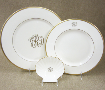 $110.00 Pickard Monogrammed Charger - Gold